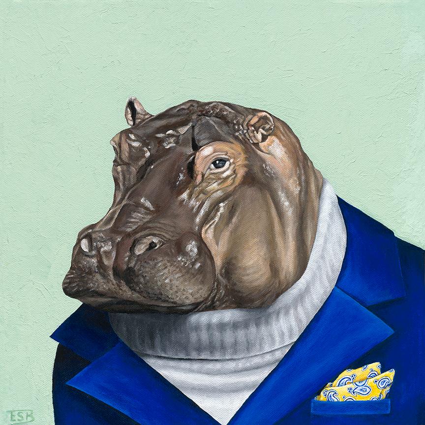 """Suave Hippo   / 12""""x12"""" / 2017 / acrylic on canvas"""