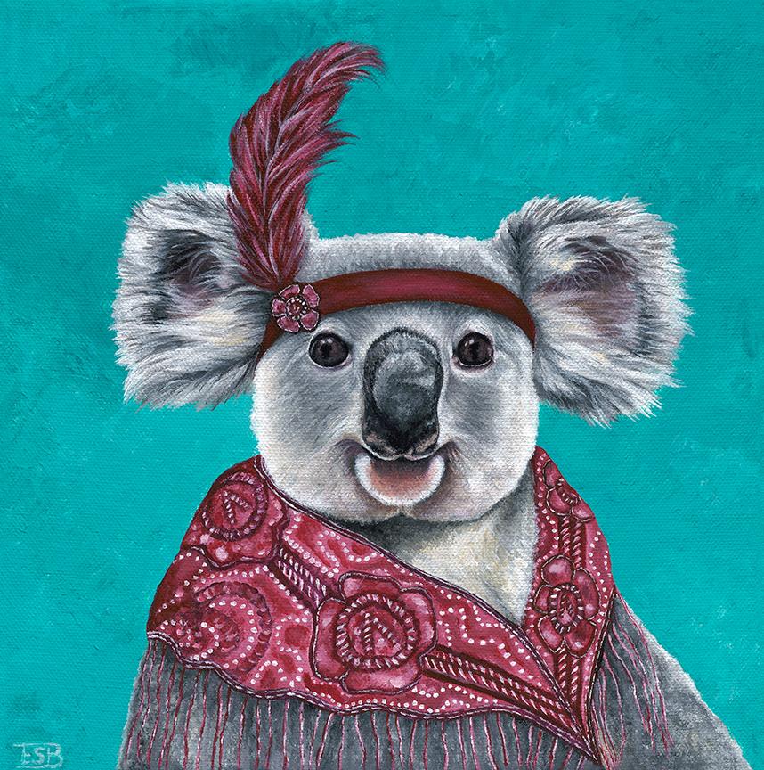 """Flapper Koala   / 10""""x10"""" / 2017 / acrylic on canvas"""