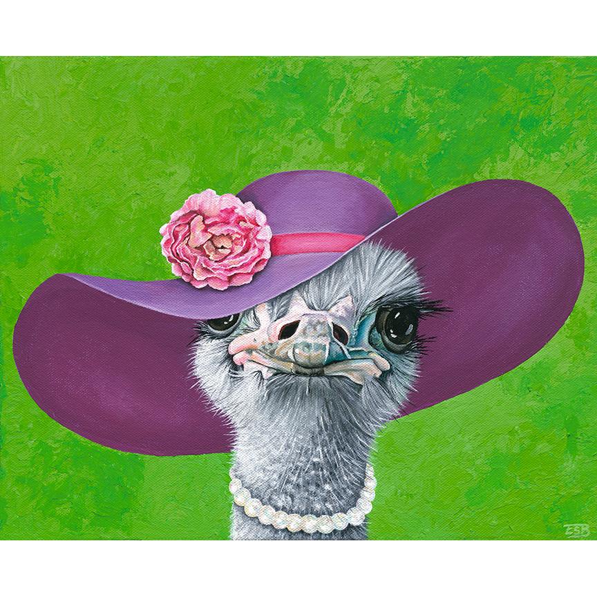 """Fancy Ostrich   / 11""""x13"""" / 2016 / acrylic on canvas"""