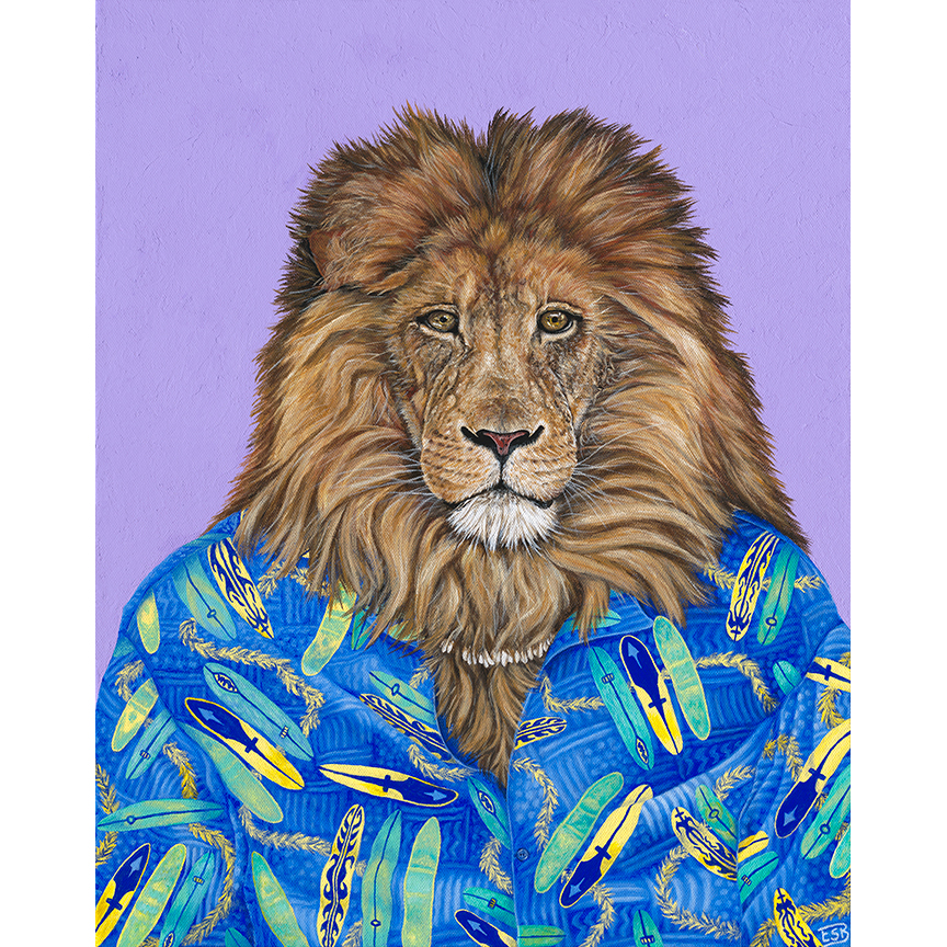 "Hawaiian Lion   / 16""x20"" / 2018 / acrylic on canvas"