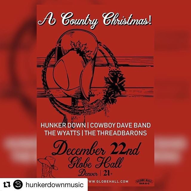 "Merry Christmas y'all!!! We're giving away a few tickets for this show. Hit us up if you're interested. We're looking forward to playing @GlobeHallDenver's ""A Country Christmas"" on Saturday, 12/22. We'll join @hunkerdownmusic, The Wyatts and @cowboydaveband. Come celebrate with us! ❄️ #livemusic #denver #colorado#coloradomusic #countrymusic #globehall#denver #honkytonk #cowboymusic#westernswing"
