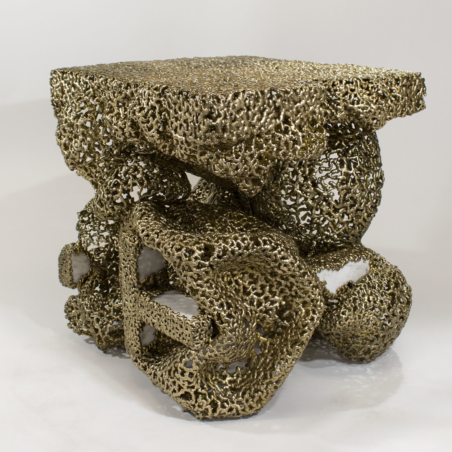 bronzed marble end table, 2016