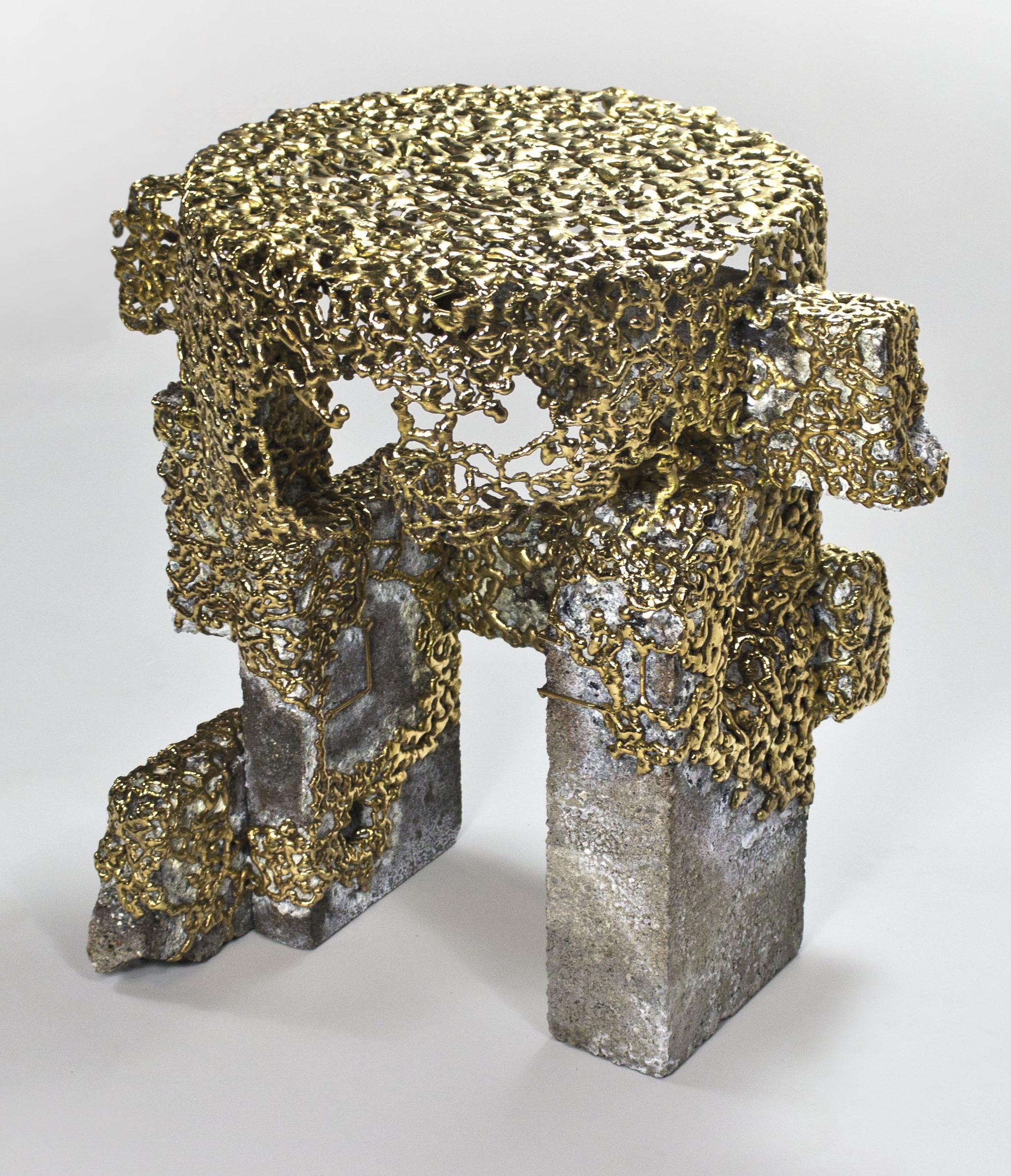 bronzed concrete end table, 2015