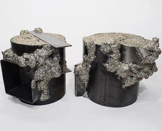 nickel silvered steel end tables on view @wassermanprojects thru May 5 @salon94design @johnson_trading