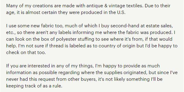 "The weird thing here is she could've just said ""I'll make sure to include ""vintage materials"" in my product description,"" but she had to ruin it with that last sentence."