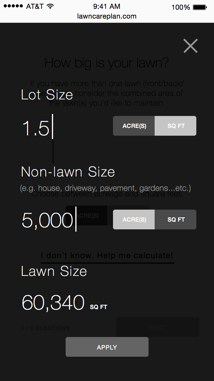 Q3-Lawn size popup answered.png