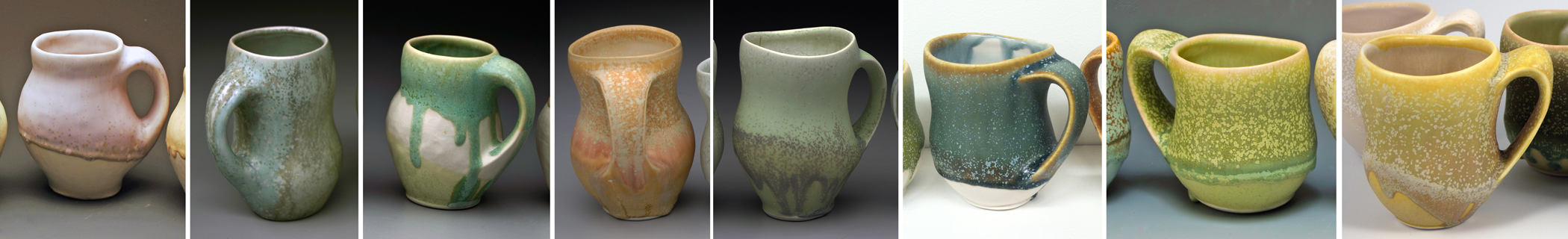 These images show the evolution of my mugs since I began exploring a form that I initially was calling a vertigo design.  Some of the transformations are internal to the mug, or to the process of making.  Others you can see happening, like watching the development of a hollow handle that harmonized with the form.