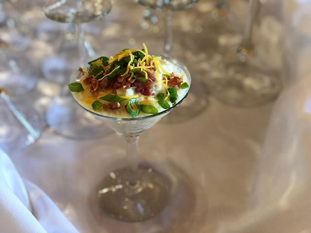 We know you love our famous 5 Cheese Mac and Cheese bar but let's talk about the Loaded Mashed Potato Bar!? Also, how cute are these martini glasses! Ask about having this at your next catered event. Thanks for having us @texasoldtown such a beautiful venue. #austintexas #georgetowntx #austincaterer #bridesofaustin #corporatecatering #sxsw2019