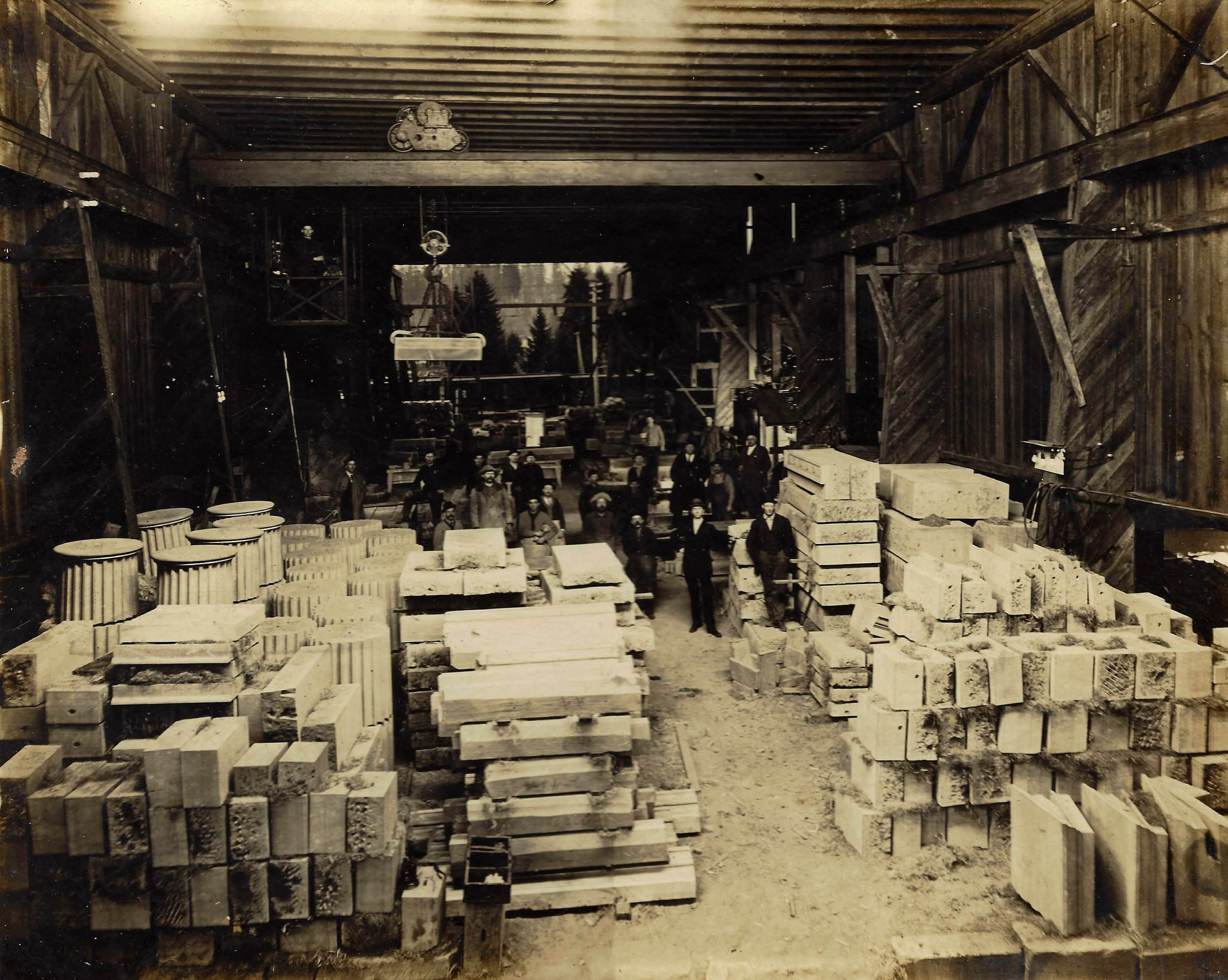 Inside the cutting shed at one of Tenino's sandstone quarries.
