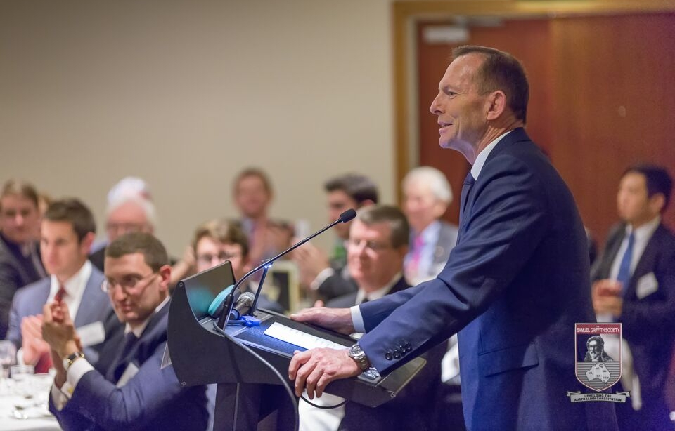 The 28th Prime Minister of Australia, The Hon Tony Abbott MP, addresses the Society