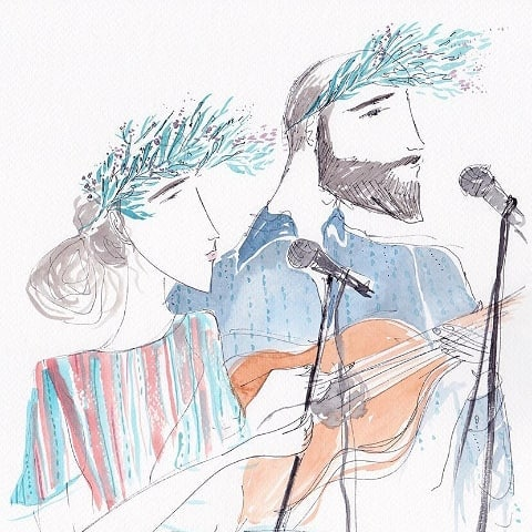 Simon and I sketched in a beautiful artwork by @leo.greenfield. So lovely to have this moment captured 💓
