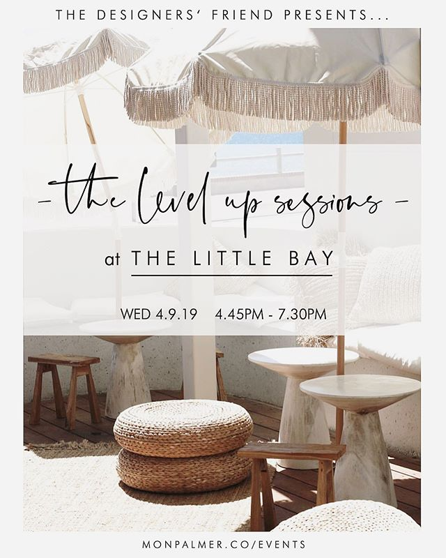 Just over a week away til the first of THE LEVEL UP SESSIONS at the gorgeous @thelittlebay_ 💫  You'll be treated to a gin 🍸 & canapés on arrival and left to mingle & meet new friends while watching the sunset over the stunning Watermans Bay 🌊  We'll then sit down & get intimate with our panel of guest speakers @mon_palmer @thelittlebay_ @featherhorse_ @jody_darcy @rachelmounsey for insights, inspiration & motivation.. This event is presented by @thedesignersfriend for creative & designers who want to take their business to new levels #YESPLEASE 🙌🏼 We also have amazing door prizes including rose gold hexagon stud earrings valued at $225 from @daniellecampbellfinejewellery, a line drawing artwork by @featherhorse_, a $100 voucher for @thelittlebay_ & a copper #SGOoutdoorshower by @mon_palmer valued at $1099 #WINNING  I've also commissioned @karina_jambrak to create an exclusive print for you all as a gift from me 🧡  There's only 17 tickets left so click the link in my bio or head to monpalmer.co/events to join us. We can't wait to meet you!! Be sure to tag a friend who you'd love to go with!! Mon x #perth #creatives #event #thelittlebay #spring #thedesignersfriend #monpalmer #thelevelupsessions #designers
