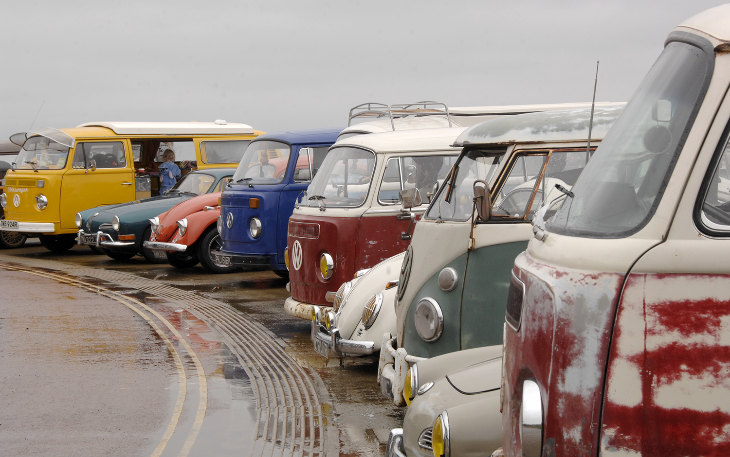 Some of the Volkswagens at the Sands piazza
