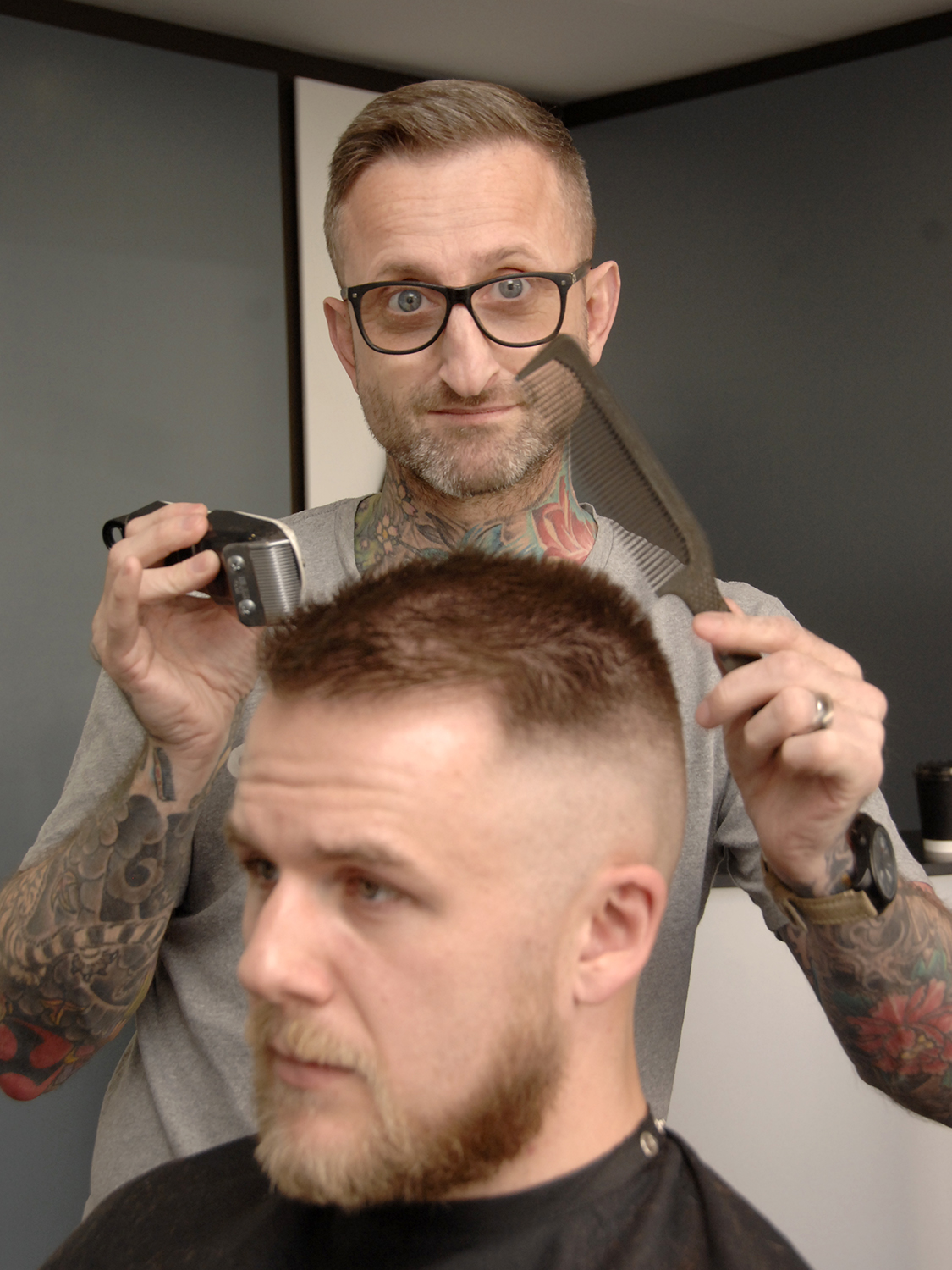 Shane Kirton at work in his Castle Road salon