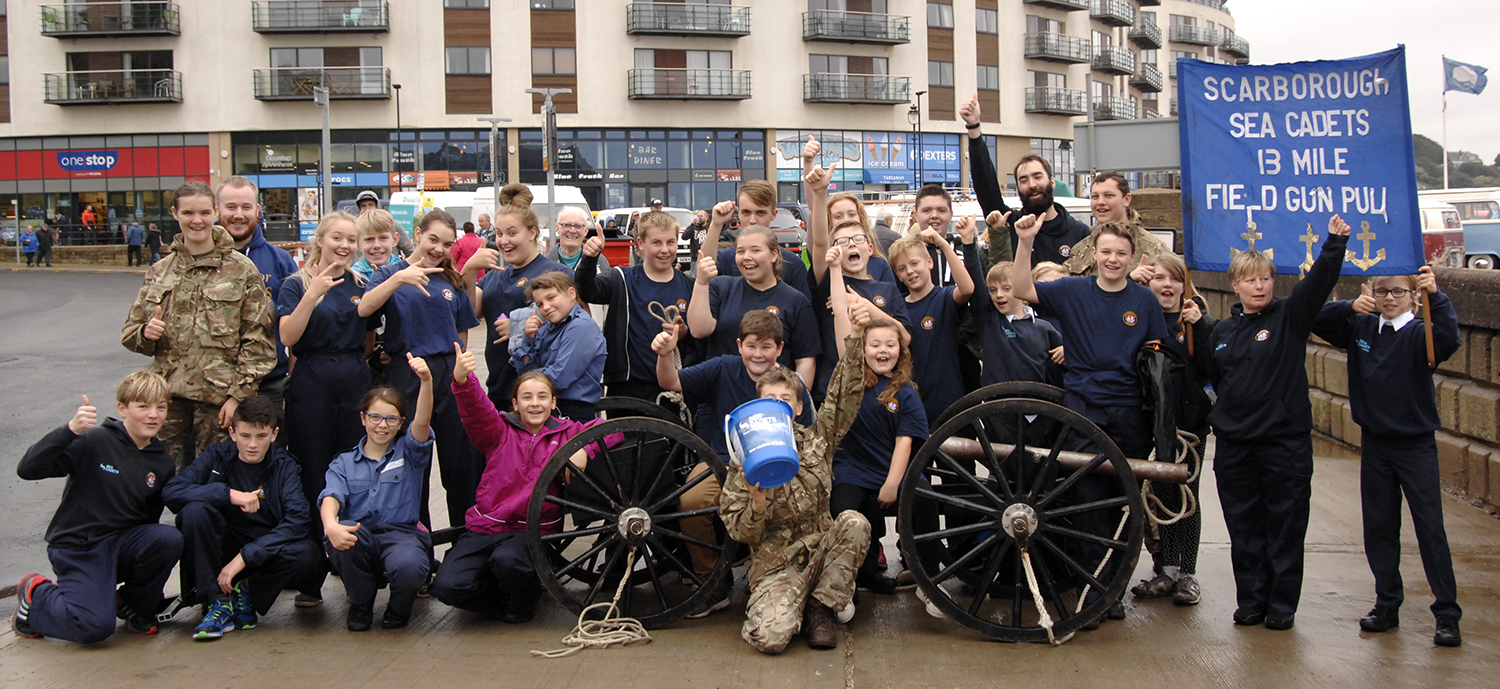 Sea cadets and instructors with their miniature field gun (to order photos ring 01723 353597)