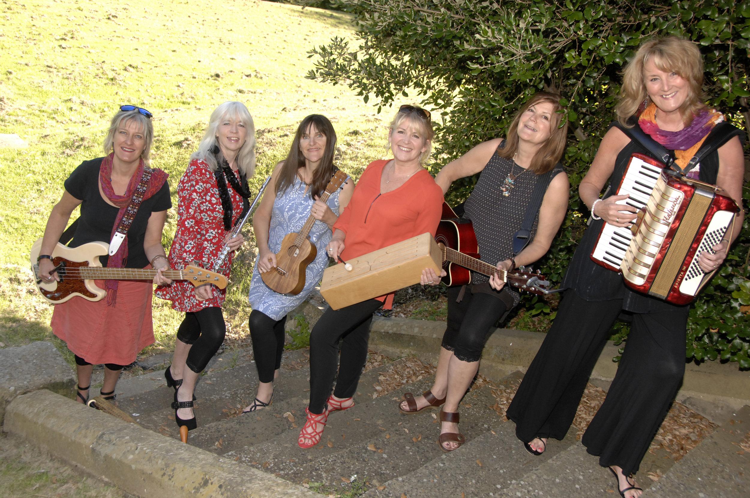 L-R: Sarah Dew, Jane Lewis, Nia Davidson, Sally Lidgley, Pat Edmond and Karen Chalmers (to order photos ring 353597)