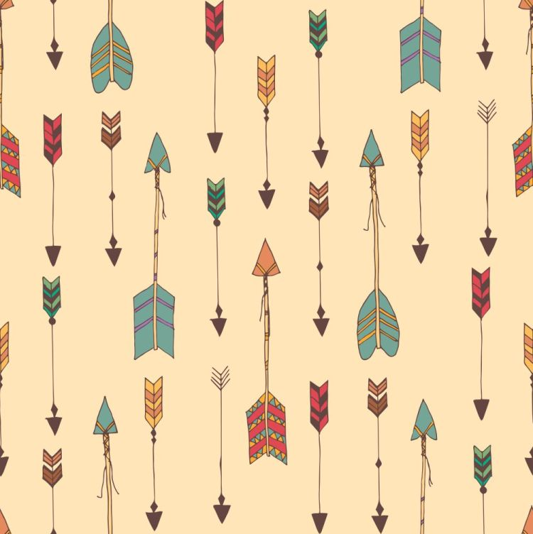 Bohemian hand drawn arrows, seamless pattern