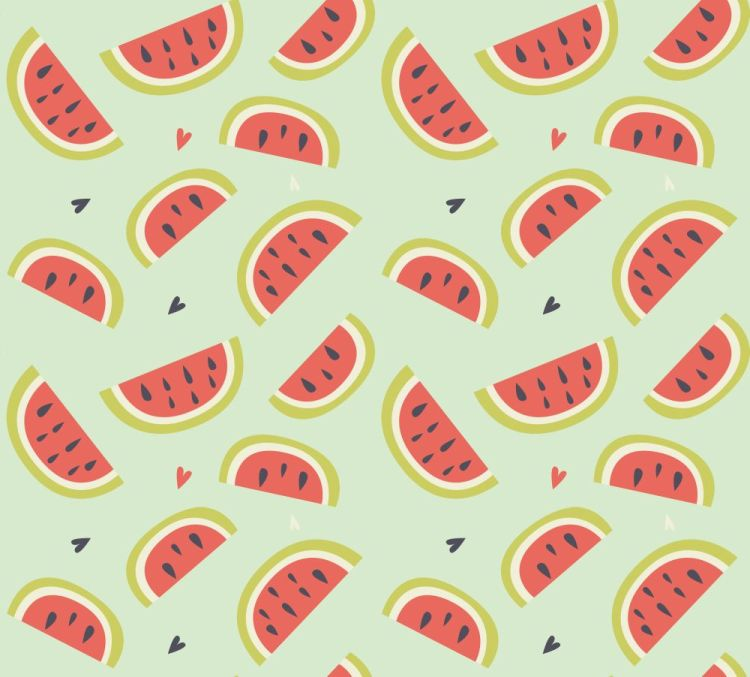 Seamless pattern with hand drawn watermelon fruit