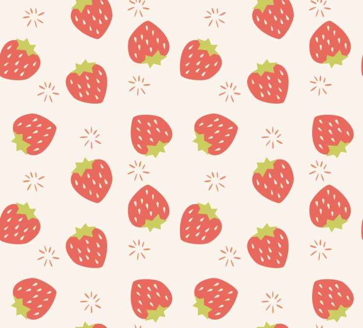 Seamless pattern with hand drawn strawberry fruit