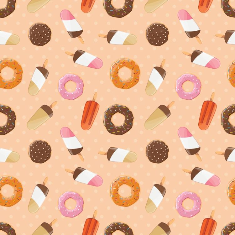Seamless pattern with ice cream and colorful tasty donuts