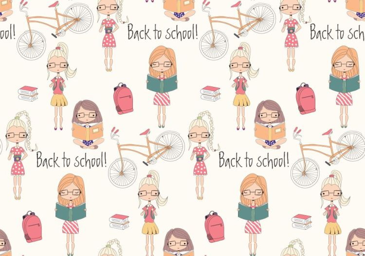 Back to school seamless pattern with school girls, bicycle and b