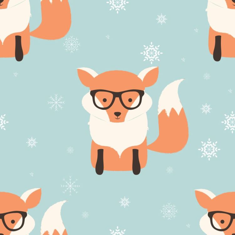 Seamless Merry Christmas patterns with cute hipster fox