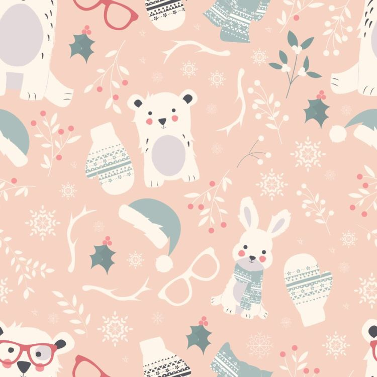 Seamless Merry Christmas patterns with cute polar animals, bears
