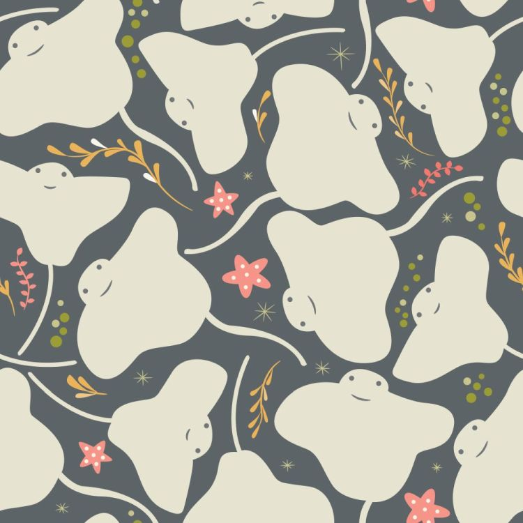 Seamless pattern with underwater ocean animals, cute stingray an