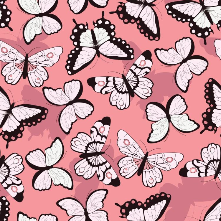 Seamless vector pattern with hand drawn colorful butterflies, pi