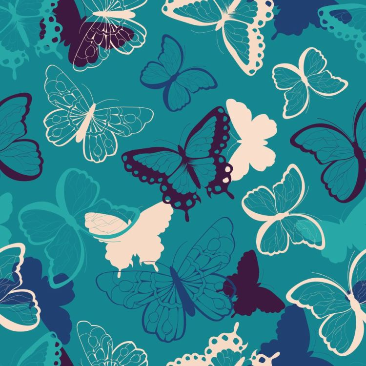 Seamless vector pattern with hand drawn colorful butterflies, si