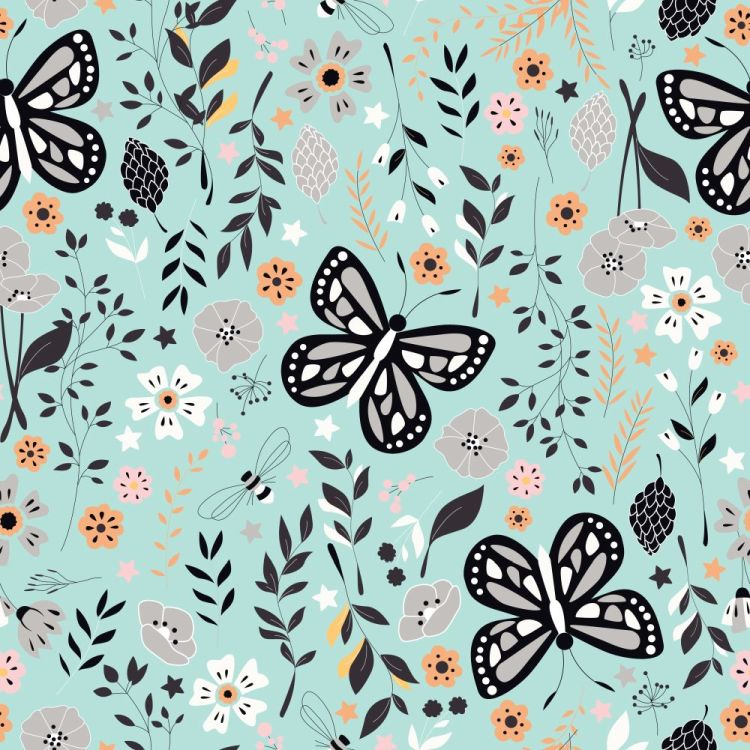 Seamless pattern with flowers, floral elements and butterflies,