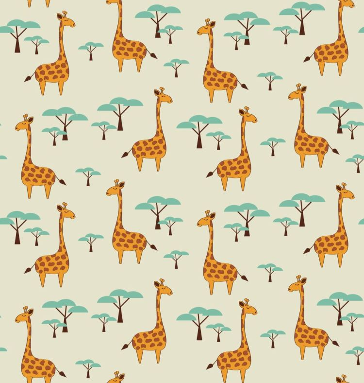 Seamless pattern with cute giraffes and trees, vector illustrati