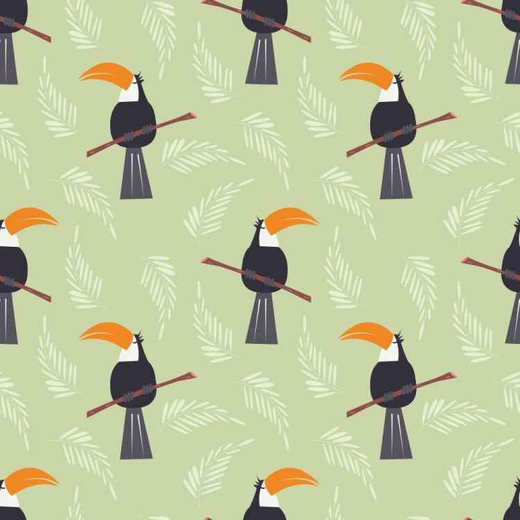 Seamless pattern with cute jungle parrot toucan on green backgro