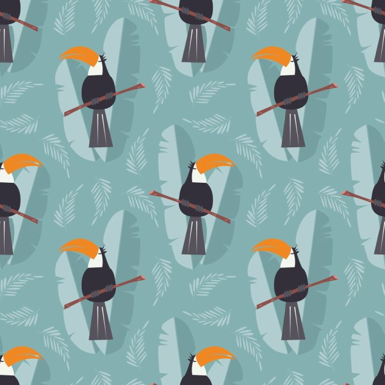 Seamless pattern with cute jungle parrot toucan on blue backgrou