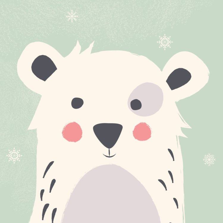 Cute polar bear with snowflakes on green background