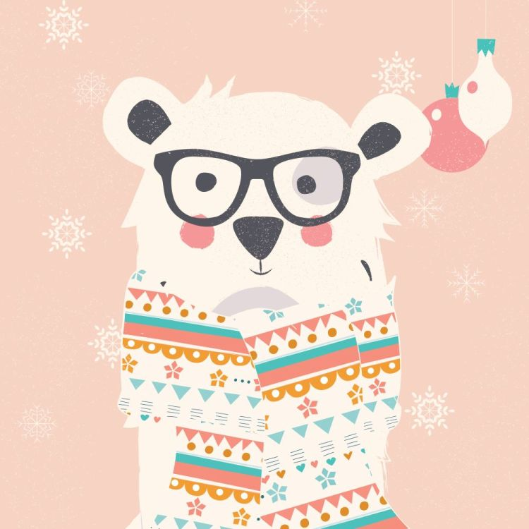 Merry Christmas postcard with hipster polar white bear wearing s