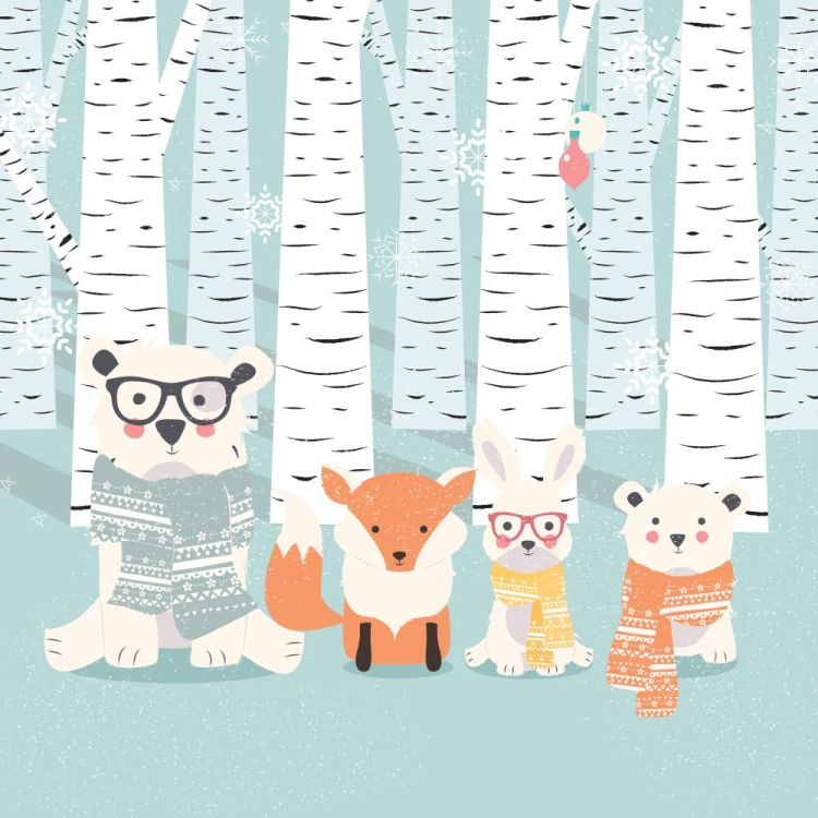Merry Christmas postcard with bears, fox and rabbit in forest