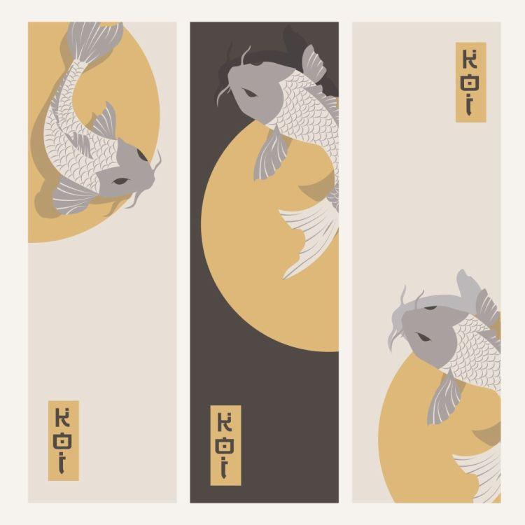 Three vertical banners with carp koi fish swimming around Sun