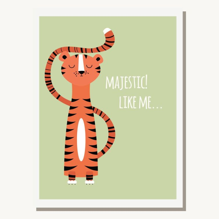 Greeting card with cute tiger and text message