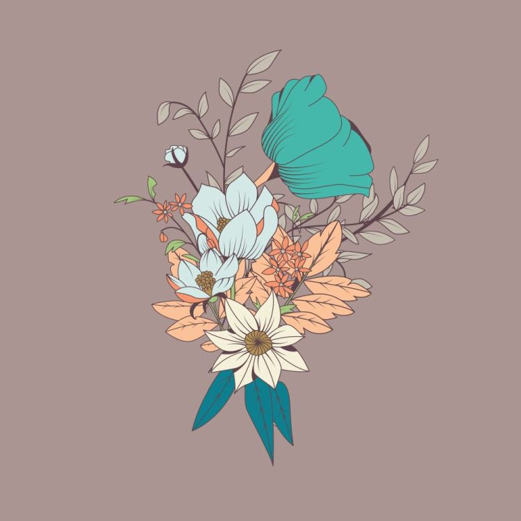 Vector flower bouquet, botanical and floral decoration hand draw