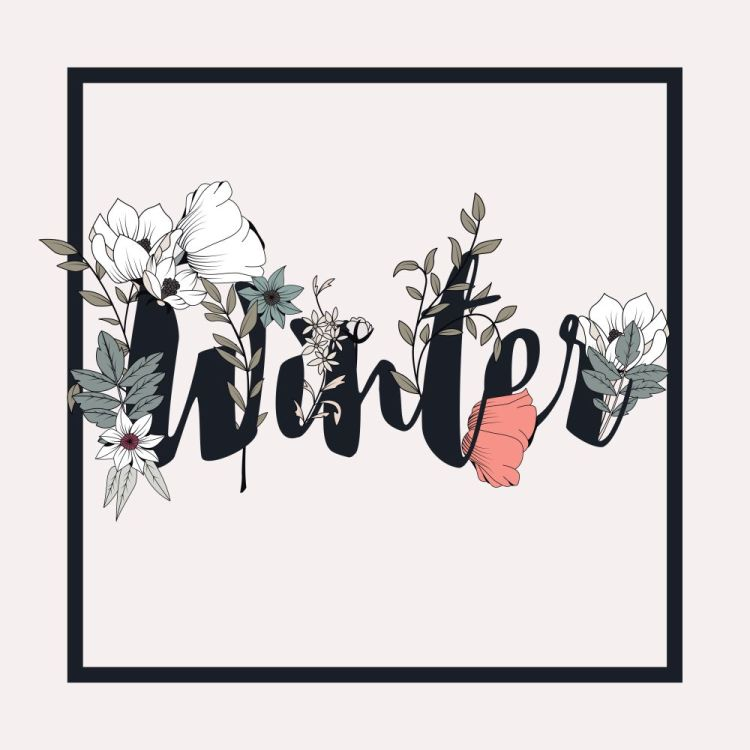 Flowers typography poster design, text and florals combined, han