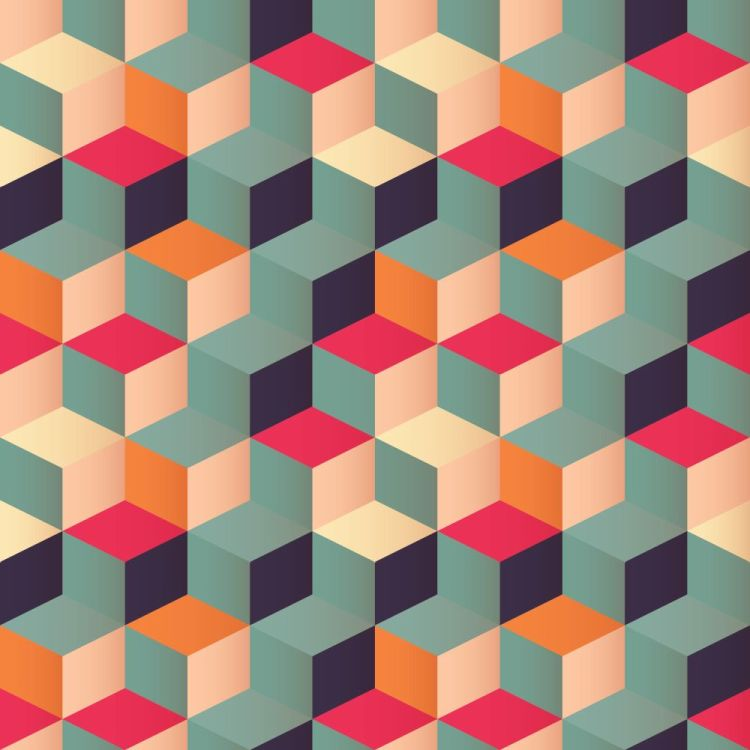 Geometric seamless pattern with colorful squares in retro design