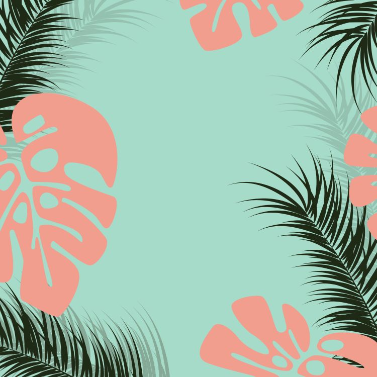 Tropical design with monstera palm leaves and plants on green ba