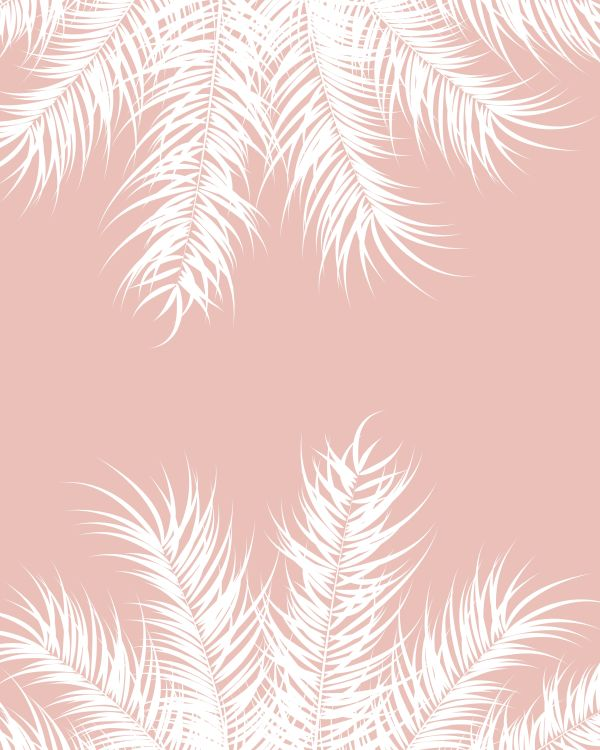 Tropical design with white palm leaves and plants on pink backgr