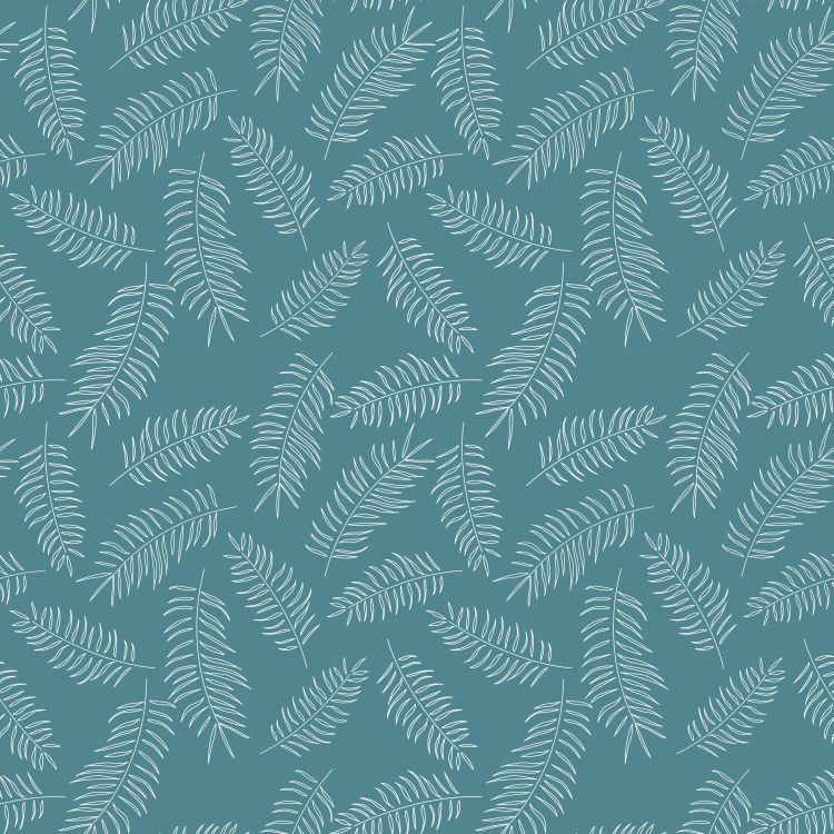 Seamless pattern with white tropical leaves on blue background