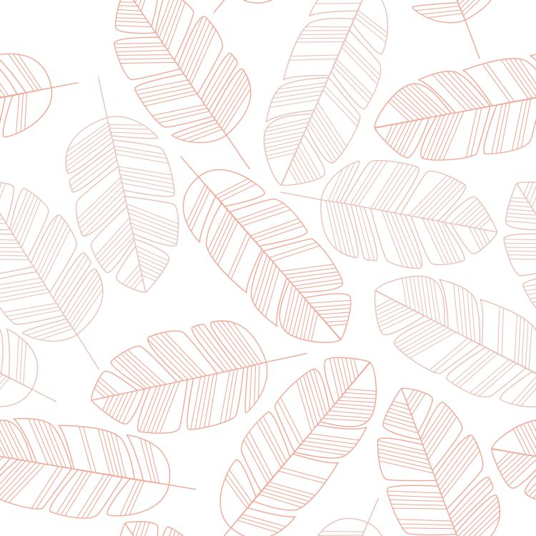 Seamless pattern with pink leaves on white background