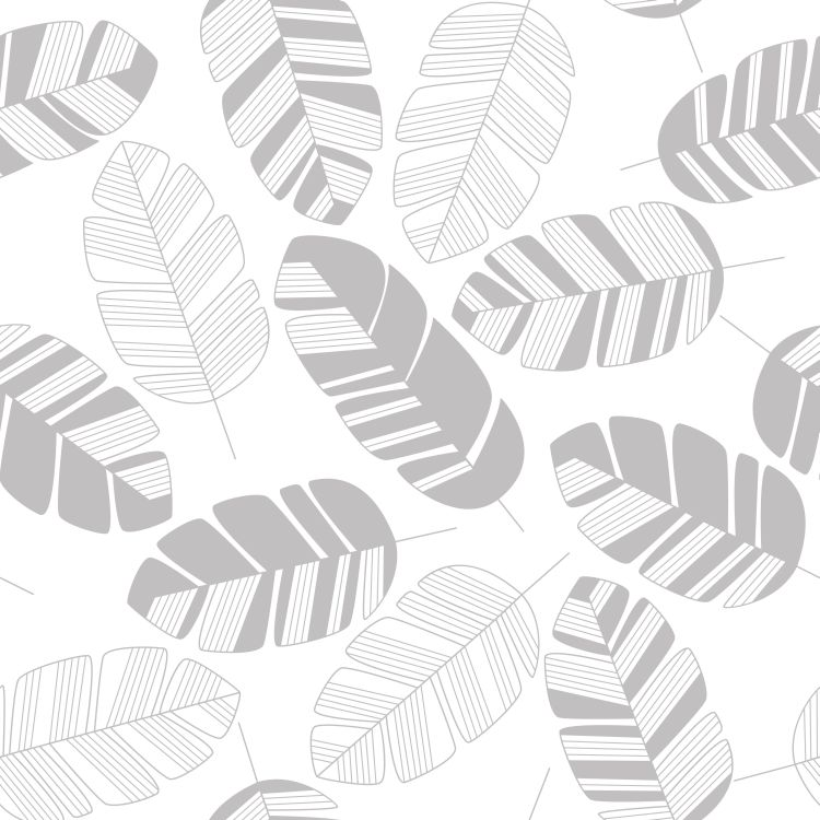 Seamless pattern with gray leaves on white background