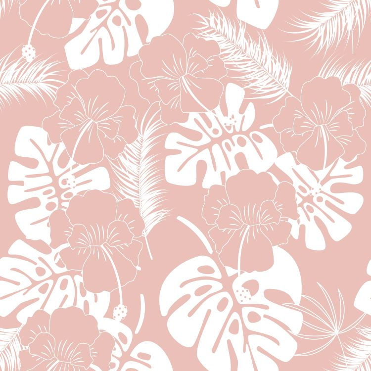 Seamless tropical pattern with white monstera leaves and flowers