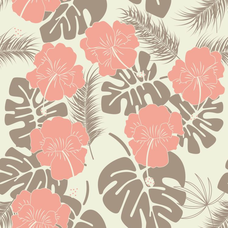 Seamless tropical pattern with monstera leaves and flowers on va