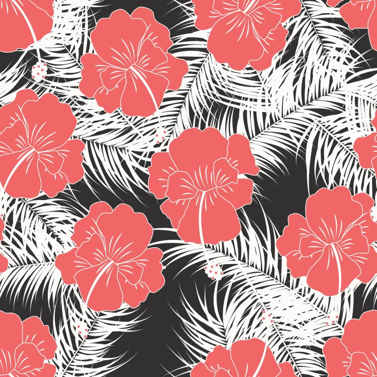 Seamless tropical pattern with white leaves and red flowers on w